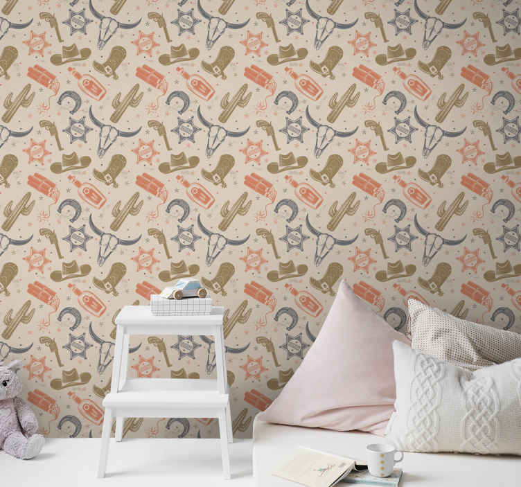 TenStickers. Cowboy elements pattern Childrens Wallpaper. Buy our unusual 3D featured wallpaper with cowboy's featured design. This product will give a cowboy western vibe to your space.