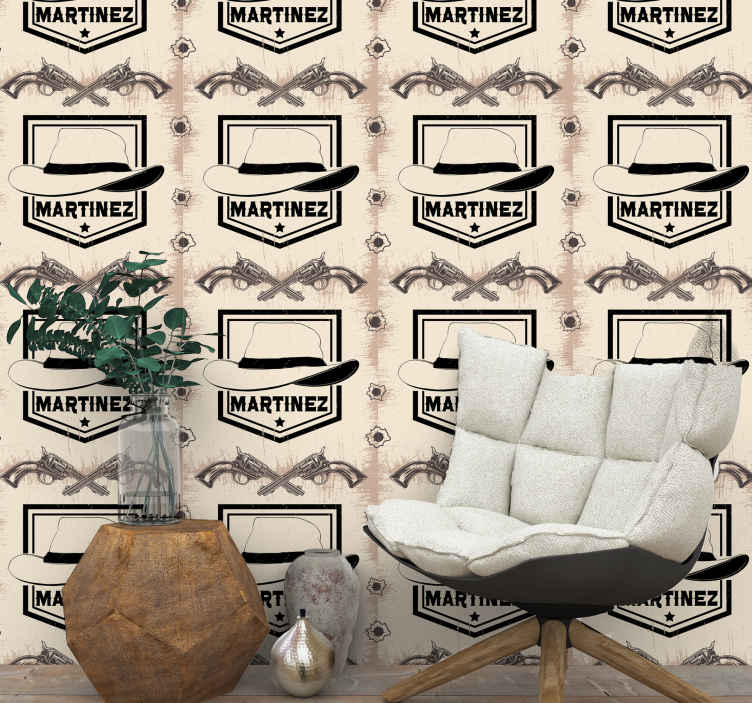 TenStickers. Cowboy Had with name Feature Living Room Wallpaper. Personalize any name on our vintage wallpaper  designed with different cowboy elements. It is easy to apply and made of good quality.