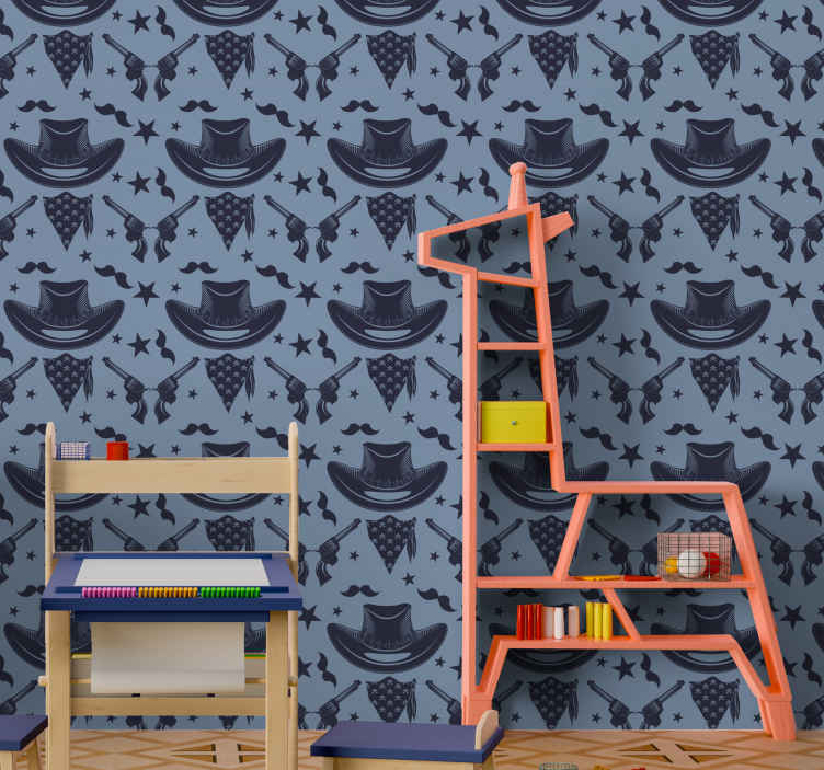 TenStickers. Cowboy hat, flock and revolvers Bedroom Wallpaper. Luxury wallpaper that you can use to decorate the bedroom space of children. It is made of good quality and easy to apply.