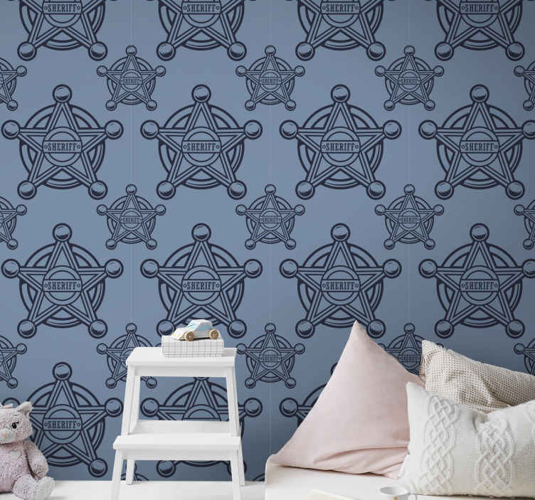 TenStickers. Cowboy Star Childrens Wallpaper. An ideal bedroom wallpaper for children with the design of sheriff badge hosting the name sheriff. It is easy to apply and made of good quality.
