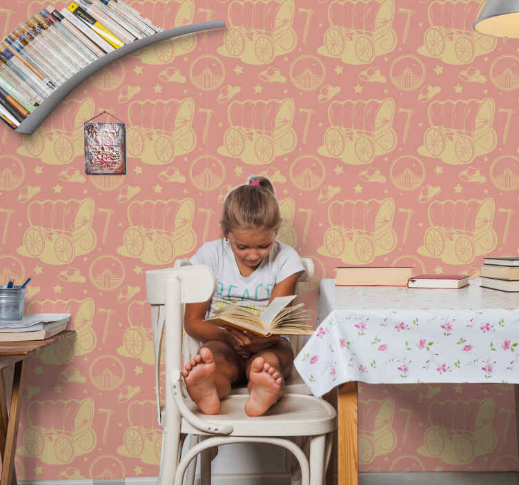 TenStickers. Cowboy wagon Childrens Wallpaper. Decorative bedroom wallpaper with various design features that depicts a cowboy's identity. The product is made with high quality material.