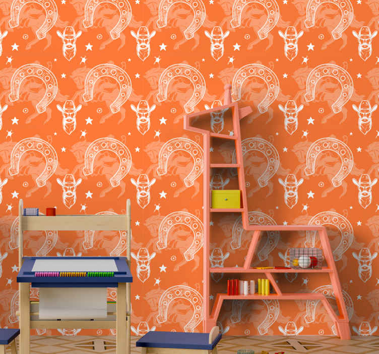 TenStickers. Horseshoe Childrens Wallpaper. Iconic room wallpaper with cowboy western features design. It is easy to apply without wrinkle effects and it is made with high quality material.
