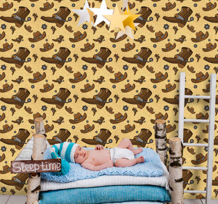 TenStickers. Hat and boots pattern Childrens Wallpaper. Looking for a western style wallpaper design to beautify the wall space in the home?  Here we got you a cowboy's hat and boots design.