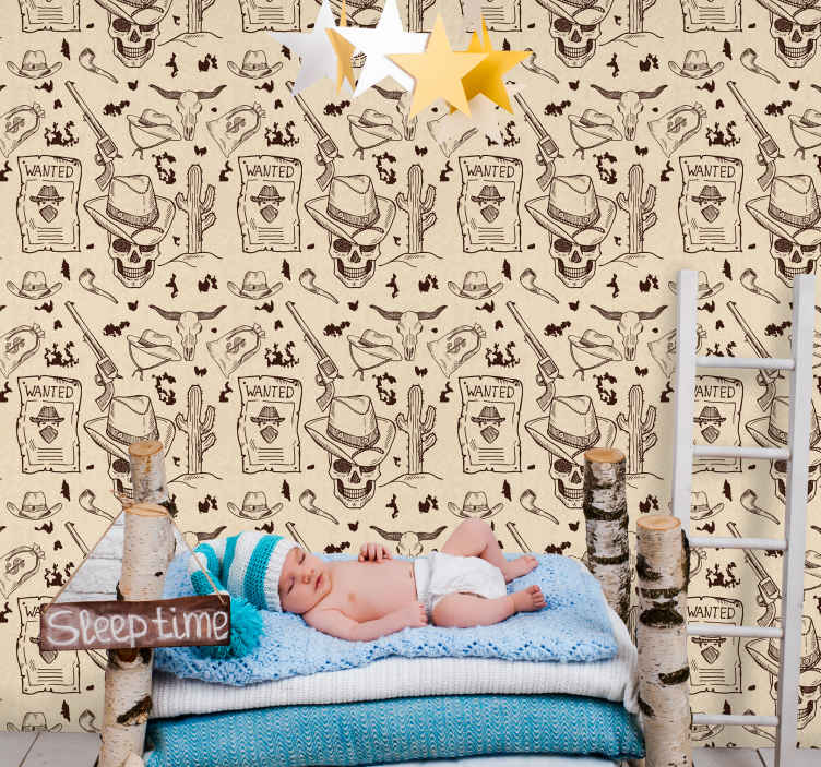 TenStickers. Papier peint chambre Thème cow-boy. Un papier peint original pour embellir une chambre spécialement pour les enfants.  Il est facile à appliquer et de bonne qualité.