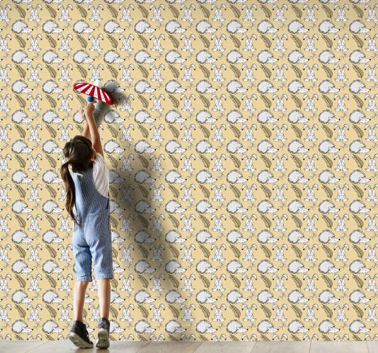 TenStickers. Papel de parede de porco-espinho e coelhos. produtode papel de parede de porco-espinho e coelhos para o quarto das crianças. Um produtodivertido para decorar o espaço do quarto dos mais jovens. Fácil de aplicar e de qualidade.