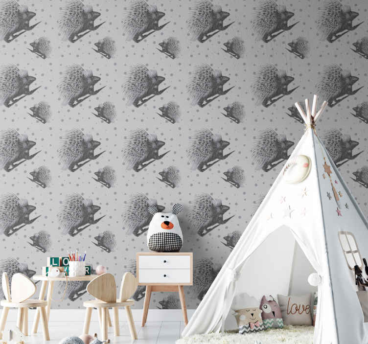 TenStickers. Porcupine art black and white wallpaper.  Porcupine black and white art wallpaper design.  The design is decorative on the space of kids and it would leave the space with a lovely tender touch.