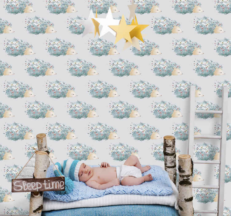 TenStickers. Porcupine art children wallpaper. A decorative porcupine wall art wallpaper for children bedroom to enhance the space of your baby or young one. Easy to apply and made of high quality.