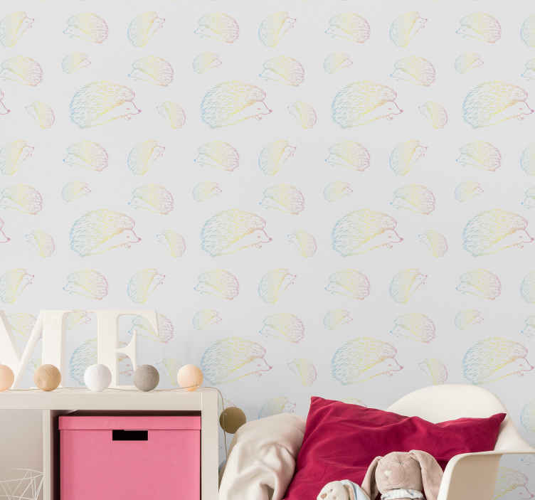 TenStickers. Porcupine drawn in lines wallpaper. Beautiful colorful drawing design of porcupines for children bedroom decoration. It is easy to apply and made from high quality material.