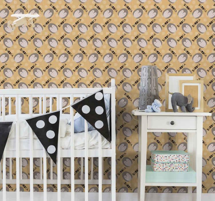 TenVinilo. Papel pared infantil con nombre de erizos. Personalice el dormitorio de su hijo con este increíble papel pintado habitación infantil con erizos y nombre personalizado ¡Envío a domicilio!