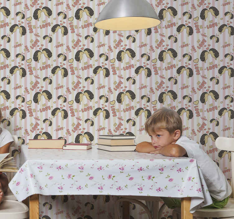 TenStickers. Porcupine in love Porcupine wallpaper. Children bedroom wallpaper patterned with hedgehogs and text prints in beautiful colour. The design illustrates two hedgehogs kissing in love.