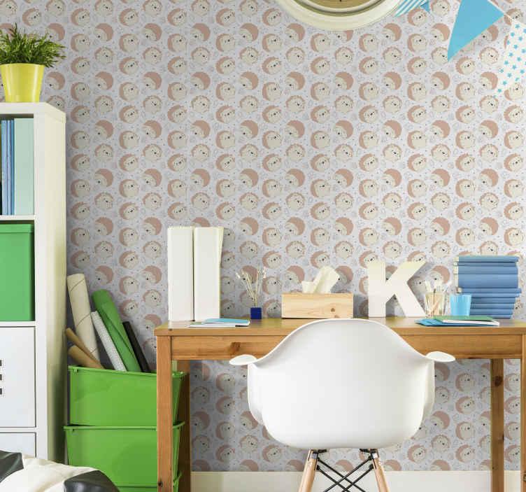 Tenstickers. Porcupine mönster tapeter. Dekorativt svindelmönster tapetdesign. Applikationen är verkligen lätt, hållbar och original. Det rekommenderas för barnens sovrum.