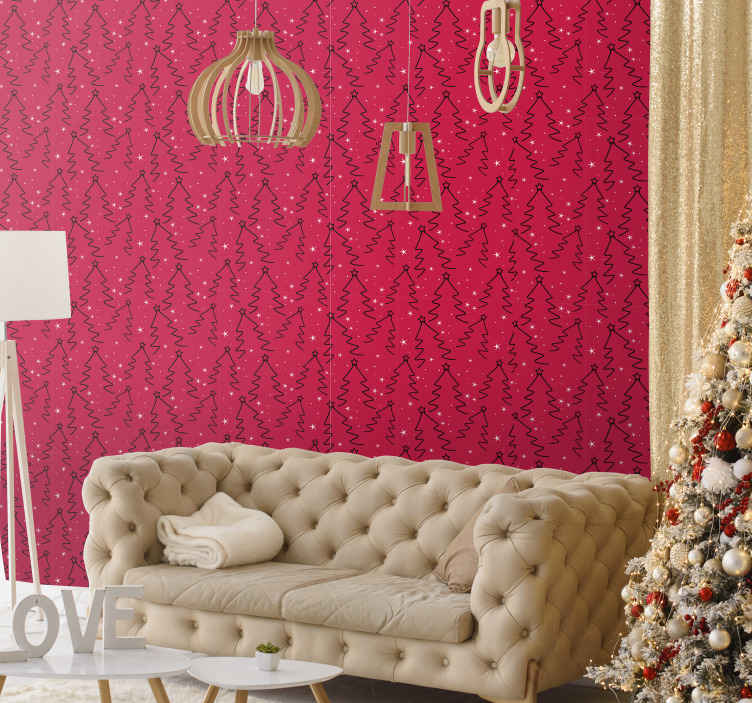 TenStickers. Christmas Tree Line Feature Living Room Wallpaper. Christmas featured wallpaper design nice for a living room.  It is a red background design with ornamental Christmas tree design.