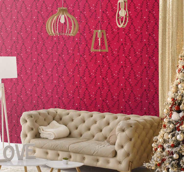 TenStickers. Rood behang Kerstboomgrens. Kerstboom fotobehang ontwerp leuk voor een woonkamer. Het is een rood achtergrondontwerp met een decoratief kerstboomontwerp.