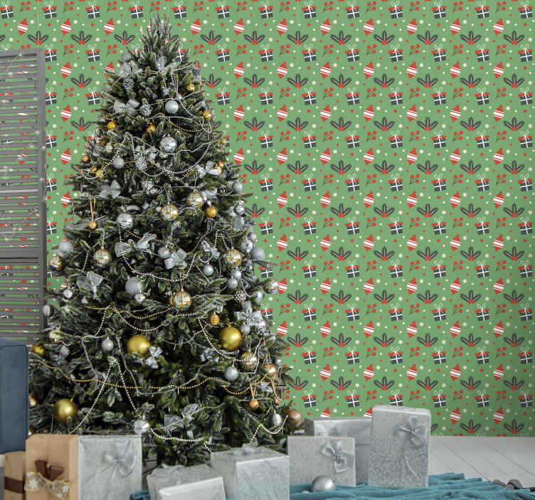 TenStickers. Christmas candy pattern Feature Living Room Wallpaper. Green background pattern wallpaper featured with Christmas ornamental designs. It is easy to apply, durable, original and made of high quality.