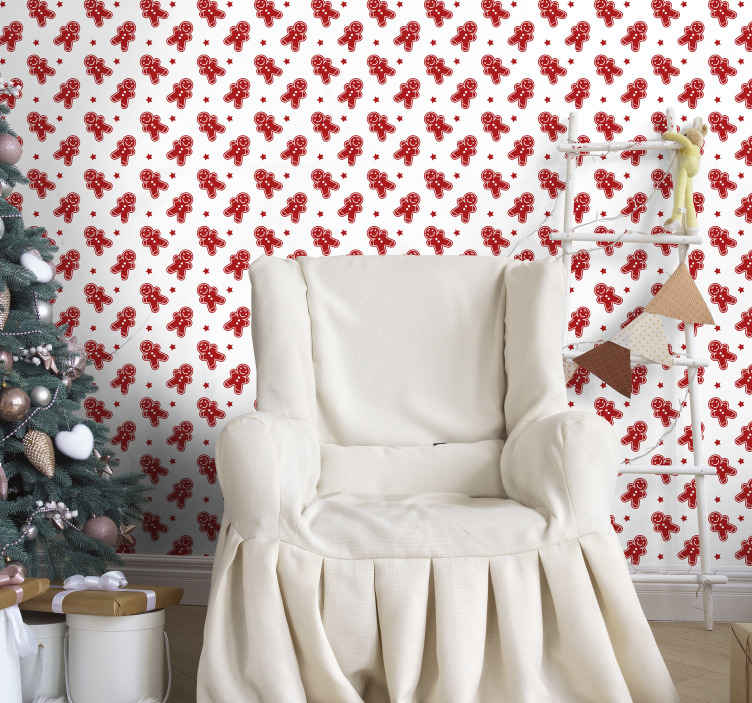 TenStickers. Christmas Cookies Feature Living Room Wallpaper. Beautiful decorative Christmas wallpaper idea for home and business place. The design is featured with Christmas snowman prints in red colour.