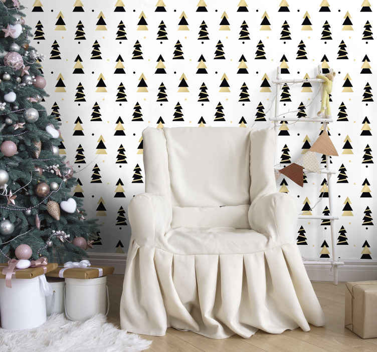 TenStickers. Christmas Elegant Tree Pattern Living Room Wallpaper. Searching for an amazing Christmas home decoration? Here is a featured  ornamental Christmas tree wallpaper design for you.