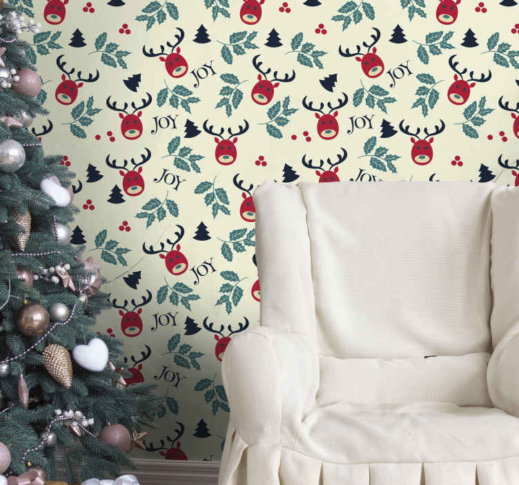 TenStickers. Joy and reindeer  Feature Living Room Wallpaper. Featured reindeer Christmas wallpaper design for home decoration. It is easy to apply and made from high quality material.