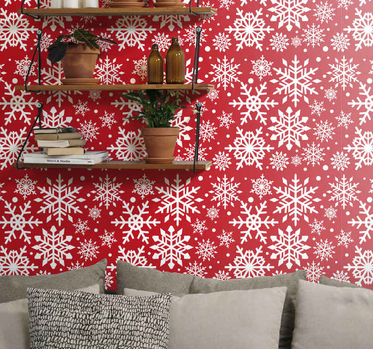TenStickers. Red snowflakes Feature Living Room Wallpaper. Bring the fall of Christmas snow on your space in our decorative featured snowflake wallpaper design It is created on red background .