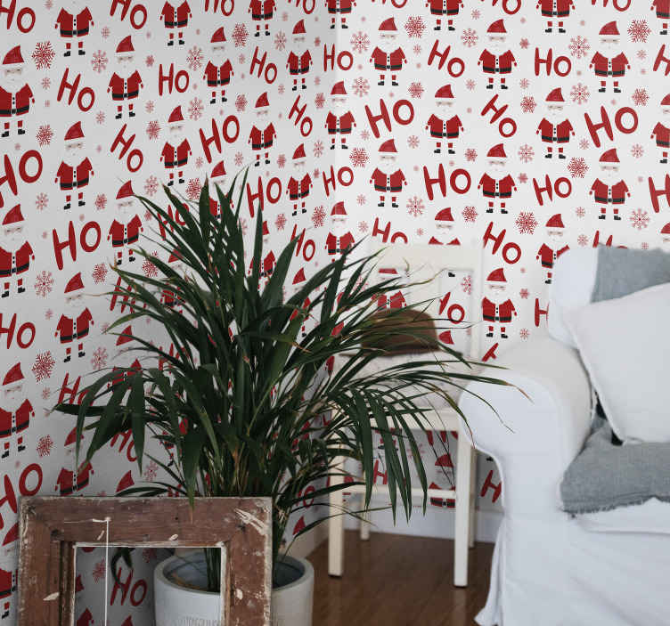 TenStickers. Santa Claus and HoHoHo pattern Living Room Wallpaper. Give a clean and fresh air of Christmas to your living room in our Christmas featured wallpaper design. The design compose of Santa  snowflakes design.