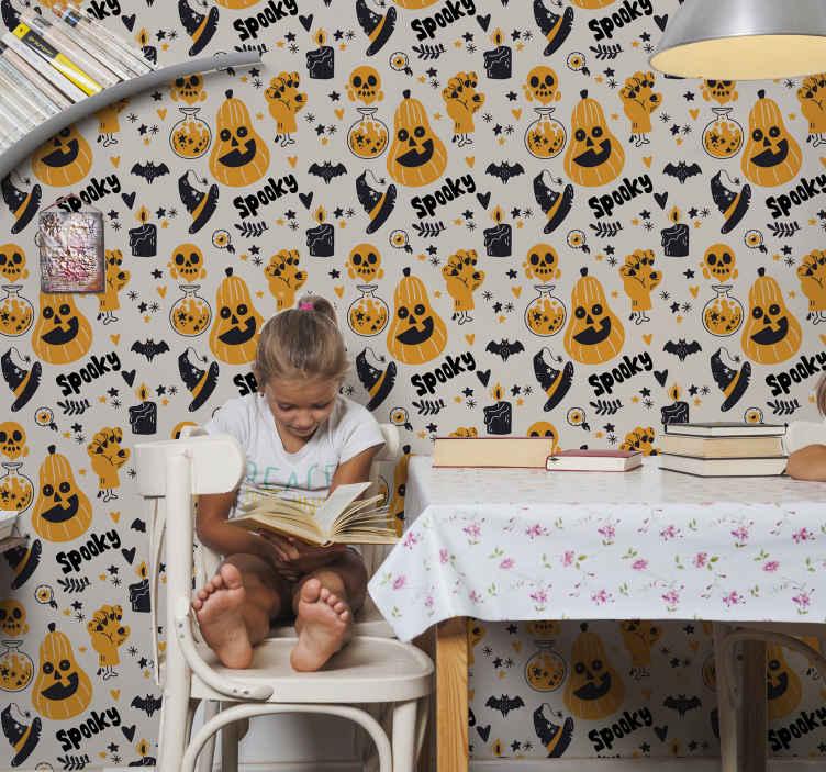 TenStickers. Griezelig pompoen halloween behang. Cool halloween elementen behang ontwerp met pompoenen, vleermuizen, heksenhoeden, drankjes en schedels. Gemaakt van hoogwaardige materialen. Wereldwijde levering.
