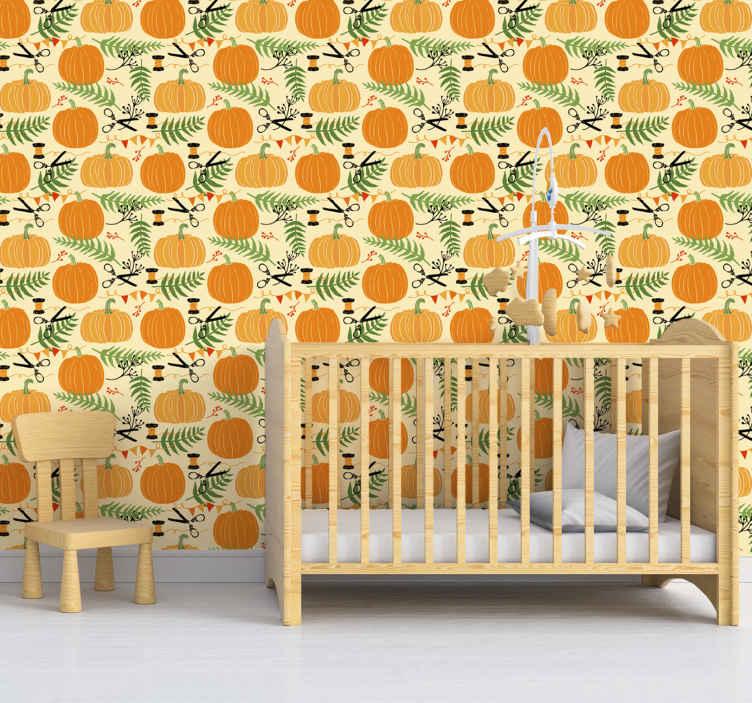 """""""Tenstickers"""". Moliūgų halloween tapetai. Oranžinės spalvos halloween tapetai papuoš jūsų namus helovino festivaliui. šiame dizaine yra moliūgai ir kitos dekoratyvinės halloween funkcijos."""