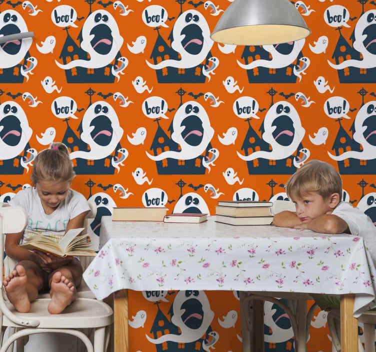 TenStickers. papier peint boo. Papier peint de chambre d'halloween pour enfants. La conception contient différents châteaux de sorcières, fantômes, texte boo et chauves-souris volantes. Il est original et durable.
