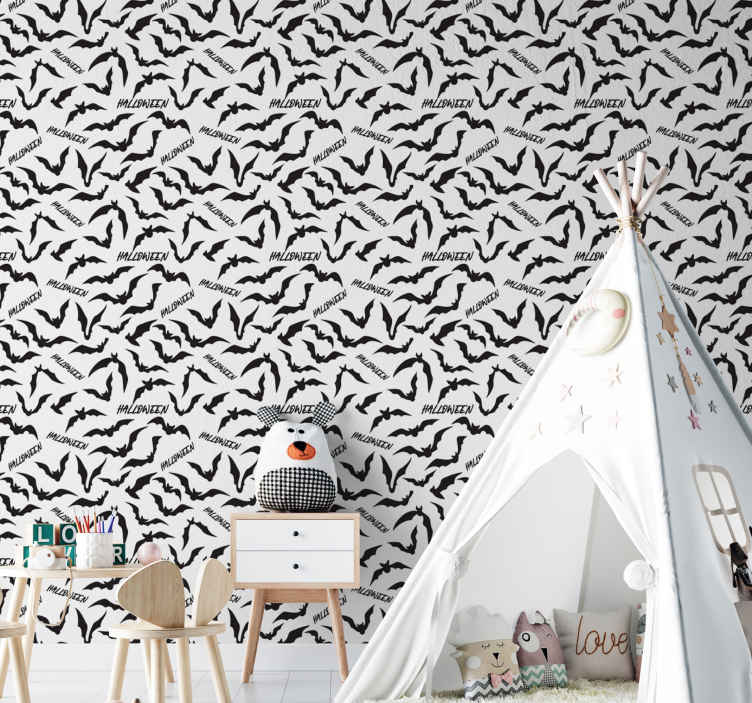 TenStickers. Bat Wallpaper. Beautiful Halloween patterned wallpaper design filled with prints of flying bats and tiny text inscription of 'Halloween. Original and easy to apply.