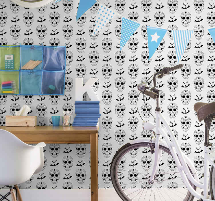 TenStickers. Skeleton Wallpaper. Skeleton patterned wallpaper for room decoration. Simple featured Halloween wallpaper to decorate any wall space in a house for Halloween festival.