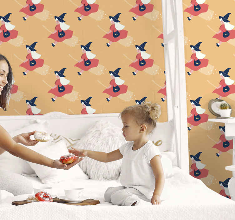 TenStickers. Ornamental Halloween witches Lounge Wallpaper. Prefect bedroom Halloween wallpaper for your little girl. The design contains different prints of a young Halloween fairy witch.