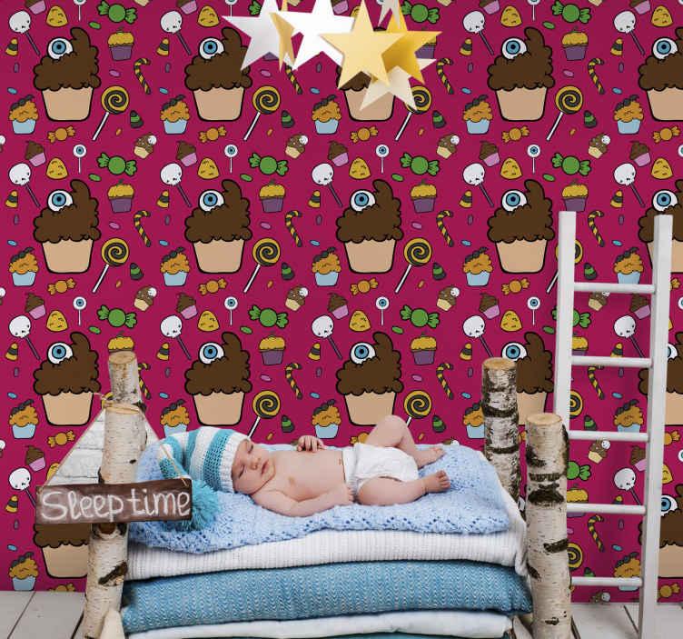 TenStickers. Tapeta do salonu Ozdobne babeczki. Śliczna tapeta do pokoju dziecięcego w babeczki. Projekt zawierający ilustracje różnych babeczek, cukierków, lizaków itp. Oryginalny i łatwy do zainstalowania.