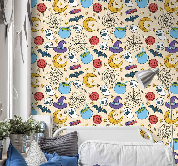 TenStickers. Ornamental halloween symbols Lounge Wallpaper. Perfect Halloween featured wallpaper for children bedroom. Happy Halloween design consisting of ghost, skull, bat, witch hat and lots more.