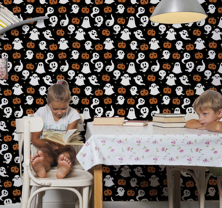 TenStickers. ornamental halloween ghosts Lounge Wallpaper. Decorative featured Halloween wallpaper for room with different ghost and pumpkins illustrations. It is original, durable and really easy to apply.