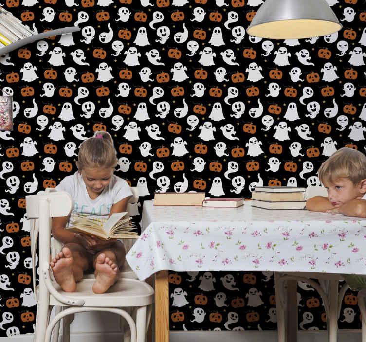 TenStickers. Slaapkamer behang Decoratieve halloween-spoken. Decoratief halloween behang voor kamer met verschillende spook- en pompoenenillustraties. Het is origineel, duurzaam en heel gemakkelijk aan te brengen.