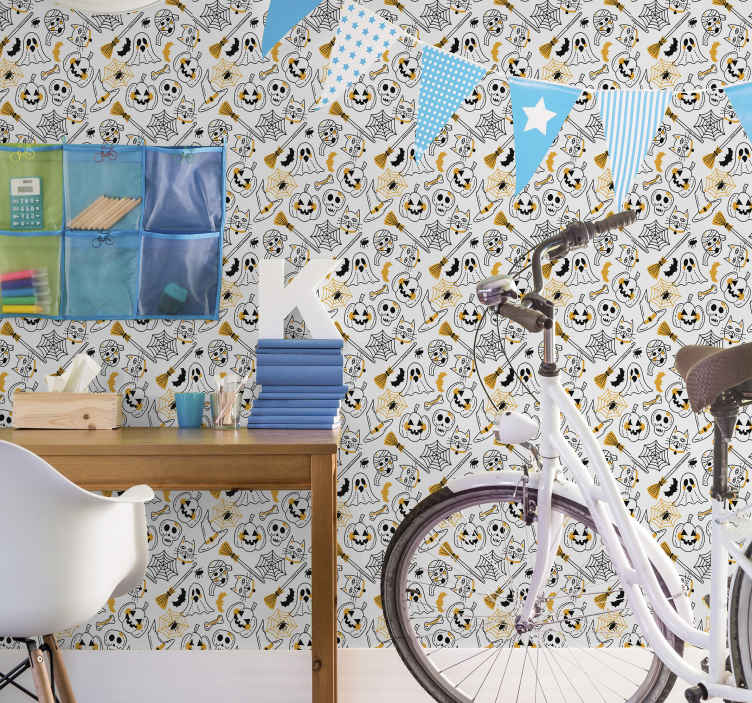 TenStickers. skulls and pumpkins  Bedroom Wallpaper. Halloween patterned wallpaper with design of various Halloween symbolic features. It contains cats, pumpkins, ghost, bones, skulls, bats and more.