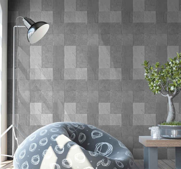 TenStickers. Tegel behang grijs Grijze tegels en vintage. Geef uw kamer dat klassieke en luxe effect met ons hoogwaardige, moderne patroon behang. Een ontwerp met een grijze vintage wandtegel.