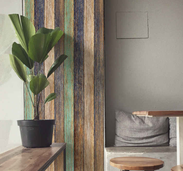 TenStickers. Blue and brown laminate Wood wallpaper. Decorative wood textured wallpaper design suitable for a classic and refined decoration. This design is created imitating hard textured wood surface.