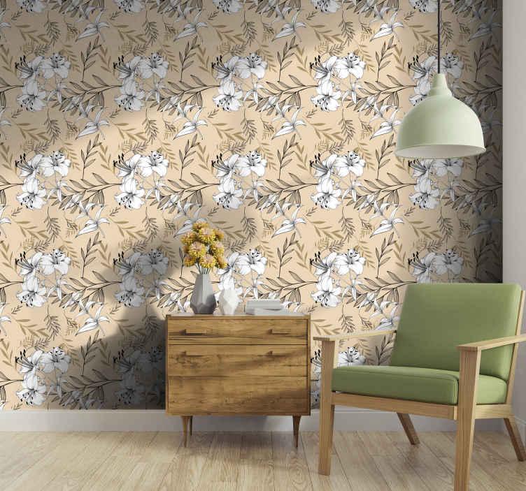 TenStickers. Behang bloemen Zwart en geel bloemenpatroon. Breng leven in elk interieur van uw huis met ons hoogwaardige bloemen patroon behang. Het is origineel, duurzaam en gemakkelijk aan te brengen.