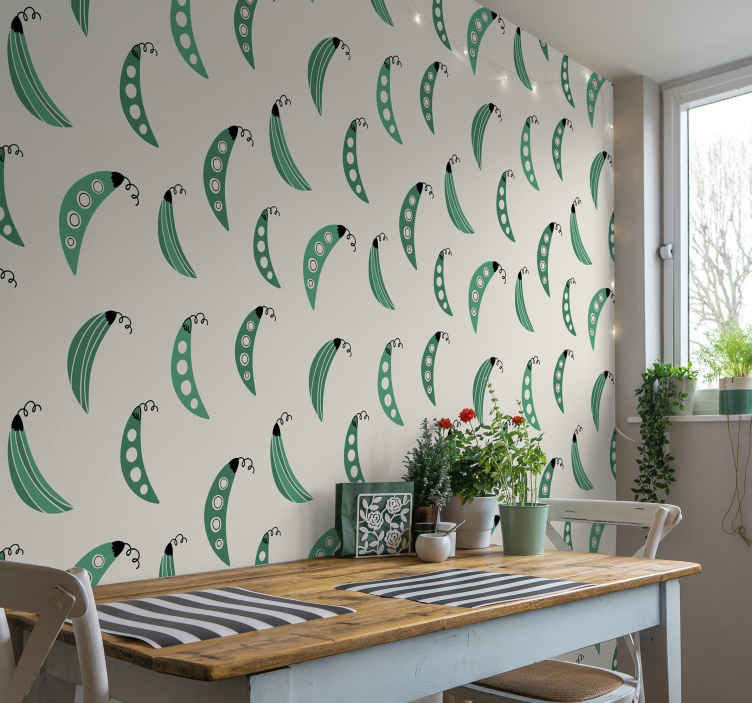 TenStickers. Green peas Kitchen Vinyl Wallpaper. Cover the wall surface of a kitchen with this amazing kitchen theme wallpaper made with the design of green peas on a grey background.