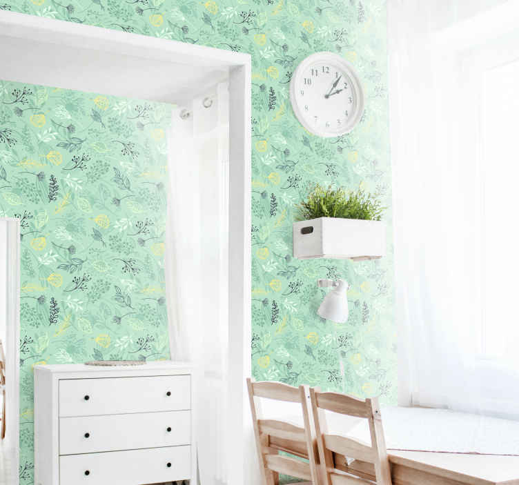 TenStickers. Flowers green colours Nature Wallpaper. Green colour flower vintage wallpaper to decorate any space of choice.  It is suitable for home and any other space, easy to apply and of high quality.