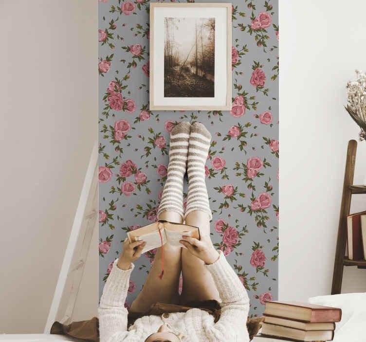 TenStickers. Gül desen doğa duvar kağıdı. Güller güzeldir ve herhangi bir alanı hoş bir şekilde geliştirir. Neden evinizi veya ofisinizi dekore etmek için bu gül çiçek desenli duvar kağıdını satın almıyorsunuz?