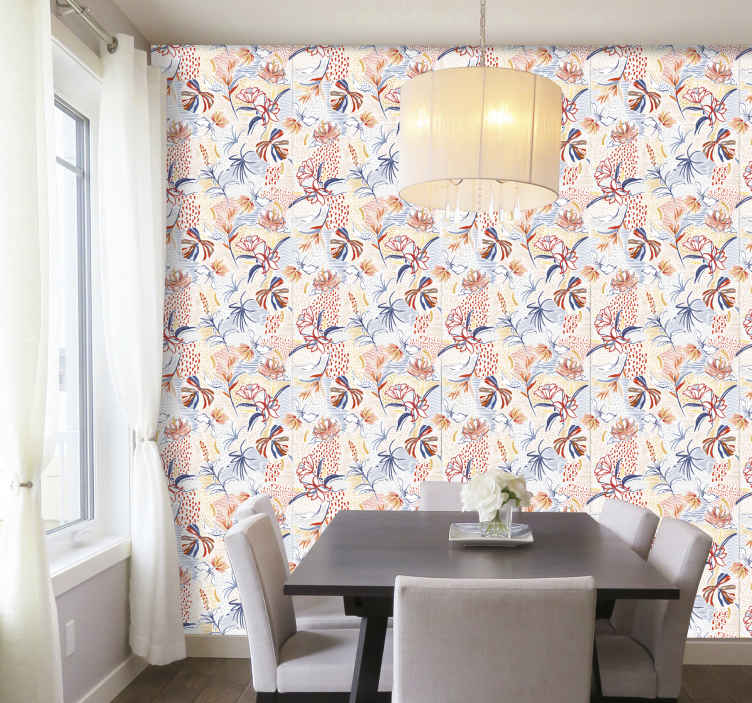 TenStickers. Ornamental and floral pattern Feature Living Room Wallpaper. Colorful flower pattern luxury wallpaper design for bedroom and living room space. Transform any space in the home with this design of top quality.