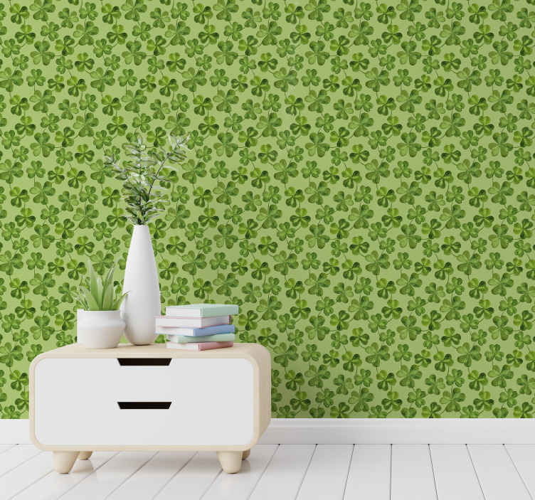TenStickers. Leaf clover pattern Wallpaper. Leaf clover pattern nature wallpaper to decorate your living room or bedroom. This design would enhance your space with the touch of green nature.