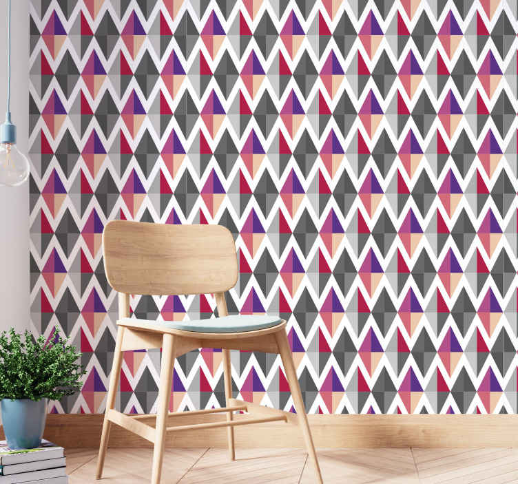 TenStickers. Triangle grey and pink Circle Pattern Wallpaper. High quality decorative grey and pink triangle pattern wallpaper for home and office space. It is easy to apply and highly durable.