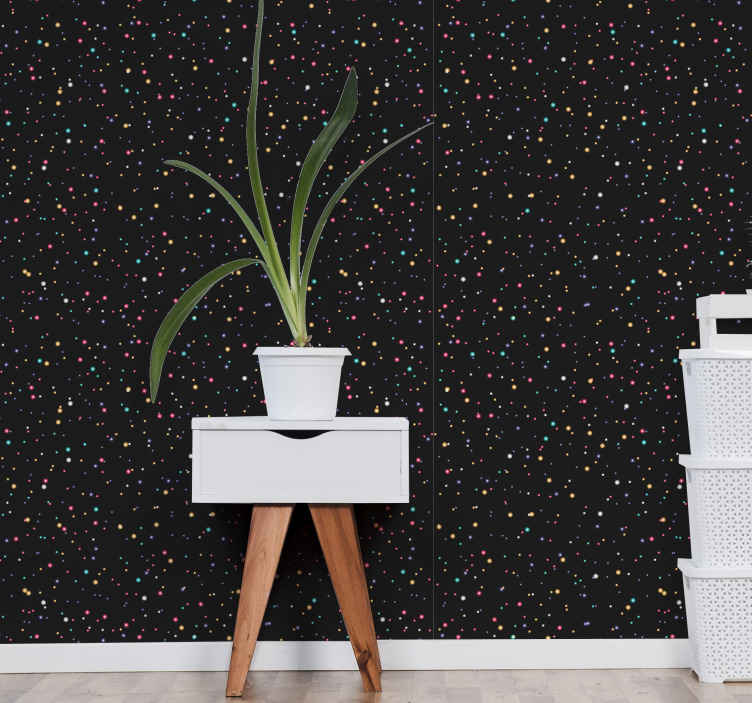 TenStickers. Black sparkle Pattern Wallpaper. Cozy and stunning textured wallpaper todesign to decorate any space. A design featured with different colours of light sparkles on black background.