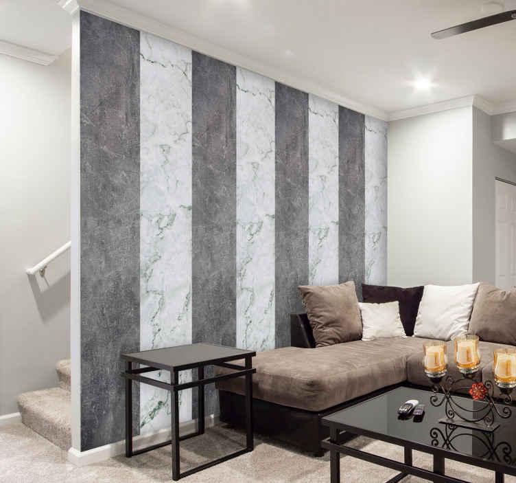 TenStickers. Carta da parati marmo Marmo grigio. Sorprendente design decorativo per carta da parati in marmo grigio e nero con un aspetto originale. Il prodotto è di alta qualità e di facile applicazione.