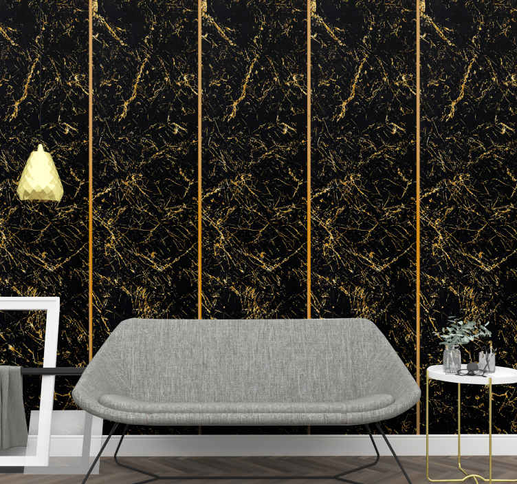 TenStickers. Black and gold marble texture Marble Effect Wallpaper. Create a cozy atmosphere on your space with this black and gold colour marble wallpaper. An original texture design made with high quality material.