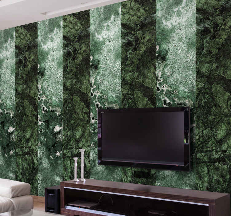 TenStickers. Green marble texture marble Effect Wallpaper. Green marble texture wallpaper depicting vertical stripes of marble layers in transiting green  blend. Made with high quality material.