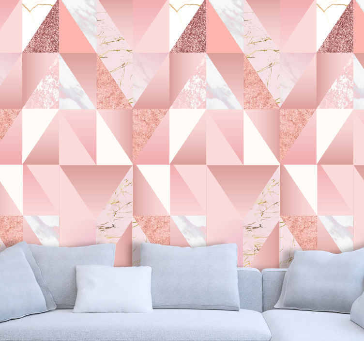 TenStickers. Pink marble texture Marble Effect Wallpaper. Realistic looking marble textured wallpaper with geometric pattern assembly. Easy to apply and of high quality material.