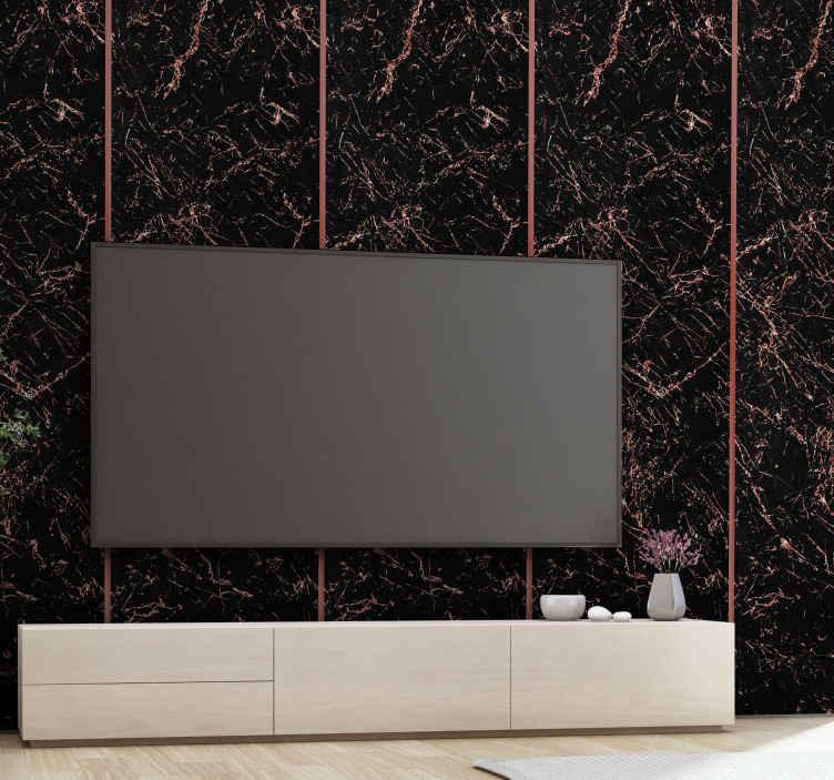 TenStickers. Tapet negru și roz sclipeste marmură cu efect de marmură. Cauți ceva original cu efect de lux pentru a decora un spațiu în 3d? Tapetul nostru luxos de marmură sclipitoare modernă te-a acoperit.