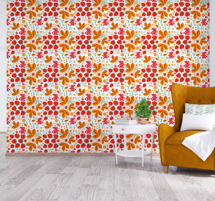 TenStickers. Strawberry Russian folk pattern Kitchen Wallpaper. A perfect colorful patterned children bedroom wallpaper for children bedroom and kitchen. It is easy to apply and of high quality.,